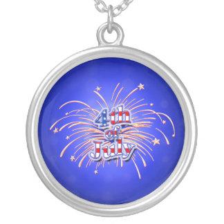 4. Juli Feuerwerke und Stern-Halskette Versilberte Kette