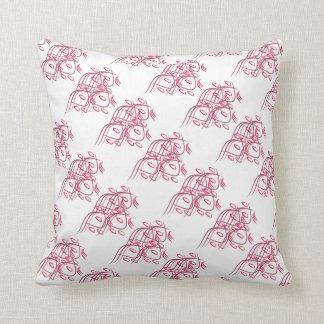 4 Köpfe abstrakt u. ovale Rosa u. Purpur Kissen
