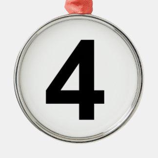 4 - Nr. vier Rundes Silberfarbenes Ornament