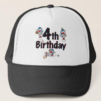 4. Socken-Affe-Baseball-Geburtstag Truckerkappe