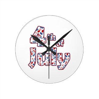 4. von Juli-Unabhängigkeitstag Runde Wanduhr