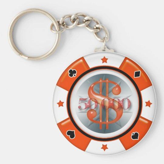 $50.000,00 Poker-Kasino-spielender Chip Standard Runder Schlüsselanhänger