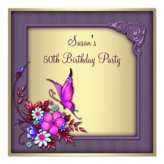 50. der Geburtstags-Party Goldder lila Karte