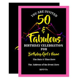 50 et invitation fabuleuse de fête d'anniversaire