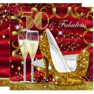 50 et invitation rouge d'anniversaire d'or