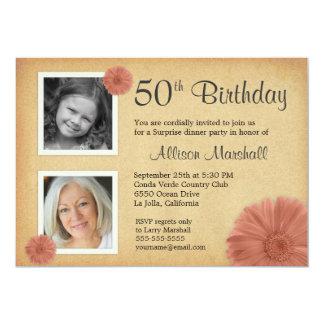 50. Foto des Geburtstags-lädt Vintages 12,7 X 17,8 Cm Einladungskarte