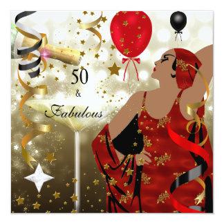 50. Fünfzig Geburtstags-Party-bezaubernde Dame Quadratische 13,3 Cm Einladungskarte
