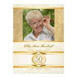 50. Geburtstag - Golddamast-Foto-Einladung
