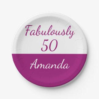 50. Geburtstag Rosa personifizieren fabelhaft 50 Pappteller