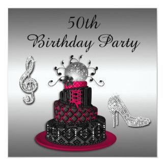 50. Geburtstags-Disco-Diva-Kuchen-und Schein-Heels Quadratische 13,3 Cm Einladungskarte