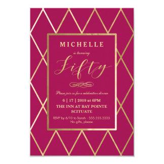 50. Geburtstags-Einladung - Gold, elegant, modisch 8,9 X 12,7 Cm Einladungskarte