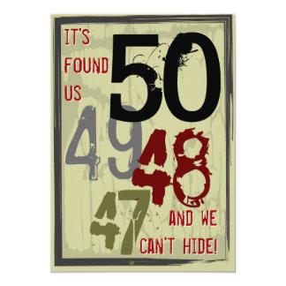 50. Geburtstags-Grungy Count-down verbindet Party 12,7 X 17,8 Cm Einladungskarte