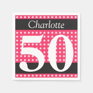 50. Geburtstags-heißes Rosa-personalisierte Papierservietten