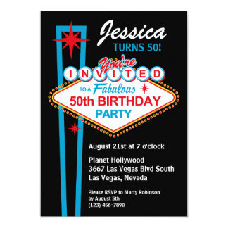 50. Geburtstags-Party Einladung Las Vegas