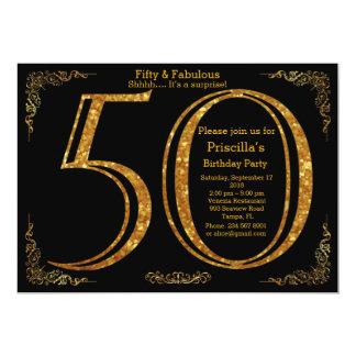 50., Geburtstags-Party, fünfzig, Gatsby, Schwarzes 12,7 X 17,8 Cm Einladungskarte