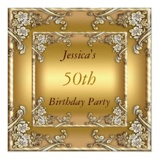 50. Geburtstags-Party-Goldeinladung Quadratische 13,3 Cm Einladungskarte