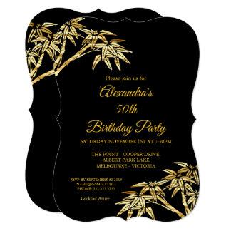 50. Geburtstags-Party-Goldgoldenes Bambusschwarzes Karte