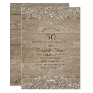 50. Geburtstags-Party rustikale hölzerne Karte