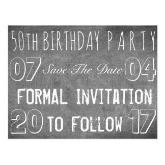 50. Geburtstags-Party-Save the Date Tafel Postkarte
