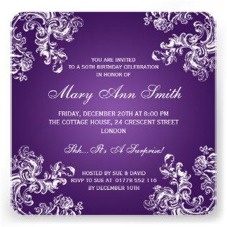 50 Geburtstags-Party-Vintager Wirbel 2 lila Individuelle Einladungskarte
