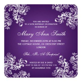 50. Geburtstags-Party-Vintager Wirbel 2 lila Quadratische 13,3 Cm Einladungskarte
