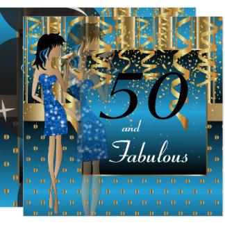 50. Geburtstags-Schlag-Mädchen-Party | blau u. Quadratische 13,3 Cm Einladungskarte