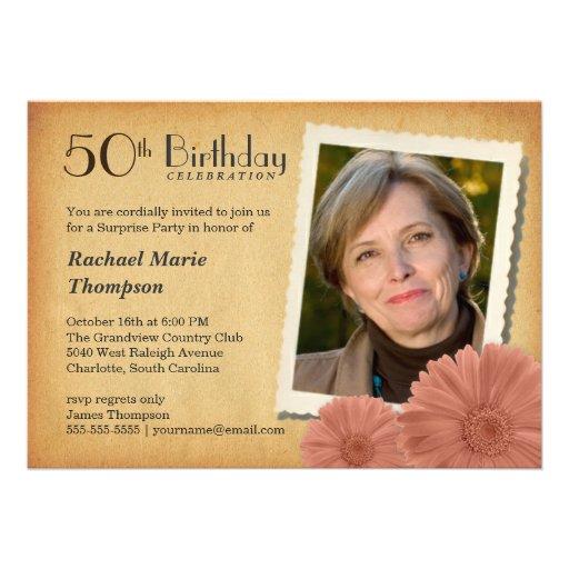 50. Geburtstags-Vintage Gänseblümchen-Foto-Einladu Einladungen