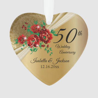 50. GoldblumenHochzeitstag Ornament