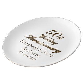 50. Goldene Hochzeitstag-Typografie elegant Teller Aus Porzellan
