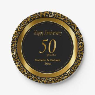 50. Goldene Leopard-Drucke des Hochzeitstag-| Pappteller 17,8 Cm