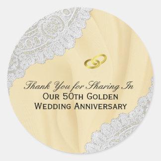 50. Goldener Hochzeitstag danken Ihnen Runder Aufkleber