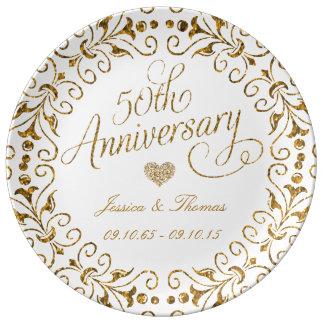 50. Goldener Hochzeitstag-dekorative Platte Teller Aus Porzellan