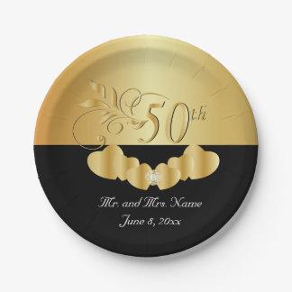 50. Goldener Hochzeitstag Pappteller 17,8 Cm