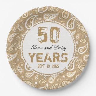 50. Goldenes Hochzeitstag-Paisley-Muster Pappteller 22,9 Cm