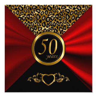 50. Goldenes Leopard-Muster des Hochzeitstag-| Quadratische 13,3 Cm Einladungskarte