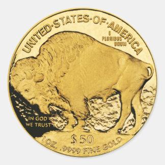 $50 Goldmünze-amerikanischer Büffel (Satz von Runder Aufkleber