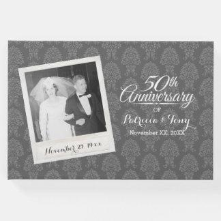 50. Hochzeits-Jahrestags-Foto-Damast-Muster Gäste Buch