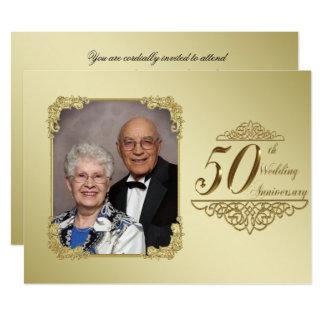 50. Hochzeits-Jahrestags-Foto-Einladungs-Karte 16,5 X 22,2 Cm Einladungskarte