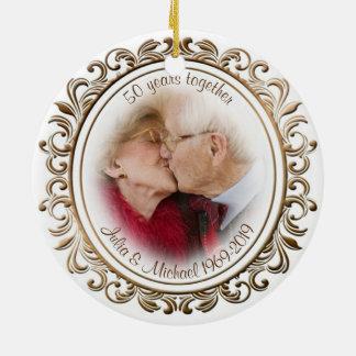 50. Hochzeits-Jahrestags-goldenes Keramik Ornament