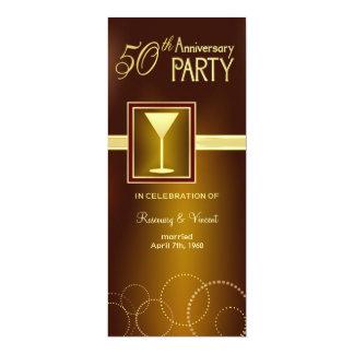 50. Hochzeits-Jahrestags-Party - Goldmonogramm 10,2 X 23,5 Cm Einladungskarte