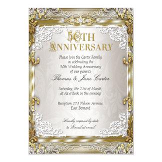50. Hochzeits-Jahrestags-Vintages Goldbeige-Foto 12,7 X 17,8 Cm Einladungskarte
