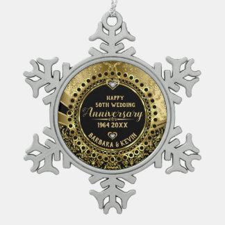 50. Hochzeitstag-Diamanten u. Gold Schneeflocken Zinn-Ornament