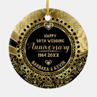 50. Hochzeitstag-Diamanten u. Golddamaste Keramik Ornament
