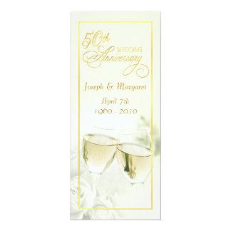 50. Hochzeitstag-Einladungen - hohes Elfenbein 10,2 X 23,5 Cm Einladungskarte