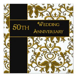 50. Hochzeitstag-Einladungen Quadratische 13,3 Cm Einladungskarte