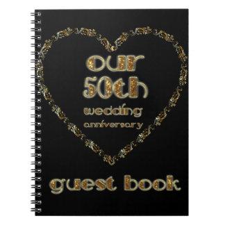 50. Hochzeitstag-Gast-Buch-Schwarz-Gold Notizblock