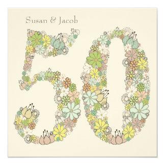 50. Hochzeitstag-Gewohnheits-Einladung Quadratische 13,3 Cm Einladungskarte