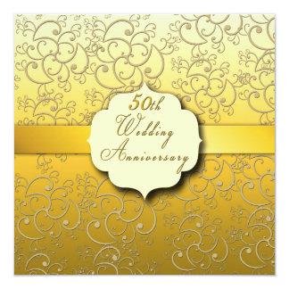 50. Hochzeitstag - golden Quadratische 13,3 Cm Einladungskarte