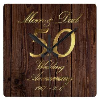 50. Hochzeitstag-goldene Hochzeits-Eltern Quadratische Wanduhr