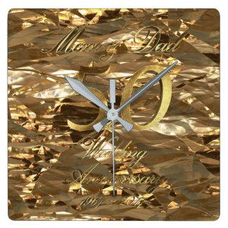 50. Hochzeitstag-goldene Hochzeits-Eltern Uhr